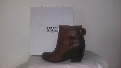 d05ffca112ca MAISON MARTIN MARGIELA Mm6 Leather Wedge Ankle Boots 38 Us 7.5 ...
