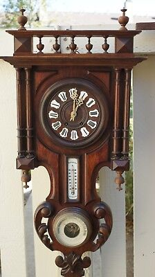 FRENCH LARGE & HEAVY ANTIQUE WALL CLOCK w/BAROMETER / THERMOMETER