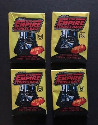 1980 Topps Star Wars Empire Strikes Back Series 3 Wax Packs Unopened 4 Pack Lot
