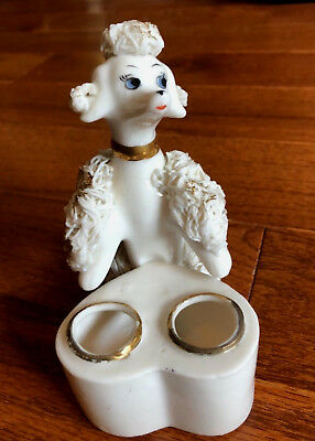 Vintage Porcelain Spaghetti Trimmed Poodle Dog Lipstick Holder Gold Trim (C)