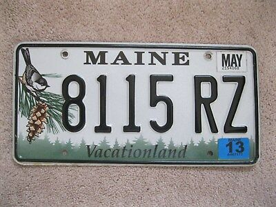 2013 Maine Chickadee License Plate 8115 RZ - Vacationland