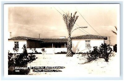 Postcard CA Palm Springs Residence Of Charles Butterworth RPPC D4