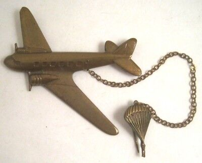 Vintage WWII C47 AIRBORNE TRANSPORT PLANE PARATROOPER DOUBLE PIN BROOCH BRASS