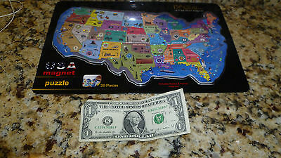 """U.S.A Magnetic Puzzle Map 29 Pieces Refrigerator Magnet 14"""" Made In Greece E3"""