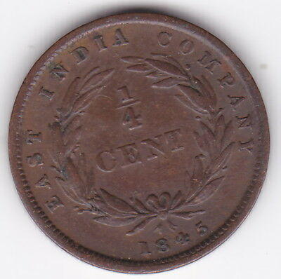 1845 ¼ Cent East India Company (Straits Settlements) Queen Victoria