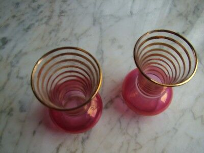 Two Small Vintage Clear Glass Vases -Pink / Cranberrywith Gold Trim
