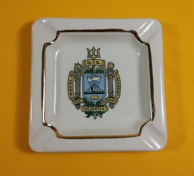 "VTG US Naval Academy Crest Ceramic Ashtray ~ 4 1/2"" Square"
