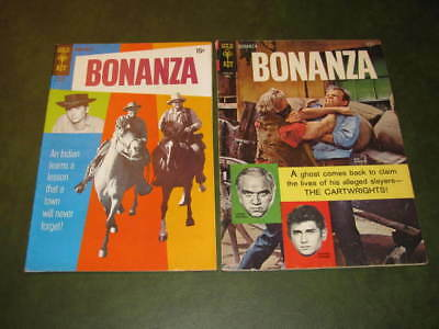 Bonanza #19 & #35 Gold Key TV Western Comics 1966-70 Photo Covers VG, Fine cond.