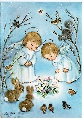 VTG Marjorie Cooper Gibson Angels Blue Girls Pretty Christmas Greeting Card