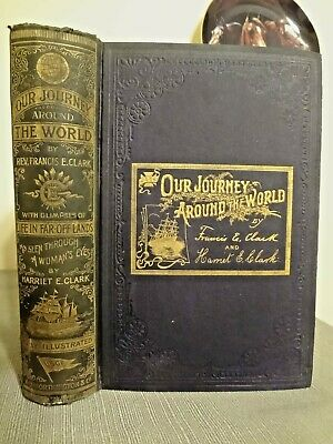1895 Travel Our Journey Around the World Color Map Australia Egypt Clark