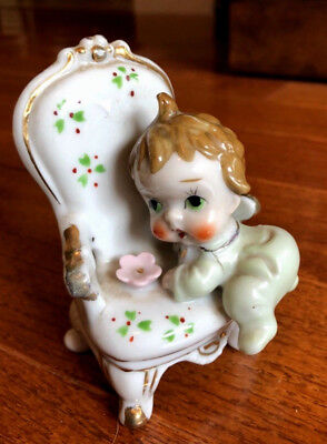Darling Vintage JAPAN Mischievious Baby Climbing On Chair Porcelain Figurine (C)