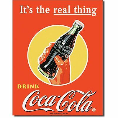 Coca Cola Coke Real Thing Bottle Advertising Vintage Retro Style Metal Tin Sign