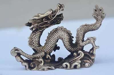 CHINESE old copper plating silver HANDWORK CARVED DRAGON STATUE a02