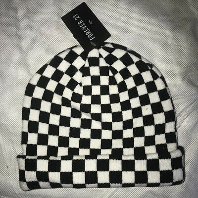 Forever 21 Checkerboard Beanie Hat NEW