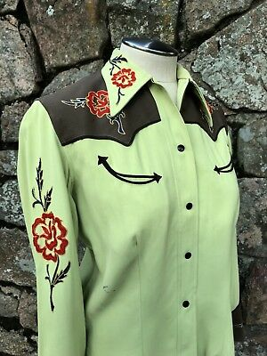 1940's Vintage Vaquero Fashions California Women's Western Shirt Green Brown Red