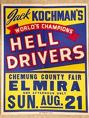 Original NOS 1949 HELL DRIVERS Auto Thrill Show Vintage Poster Large 22x28