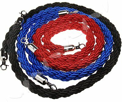 1.5M Twisted Queue Barrier Rope for Posts Stands Stanchion Red Black Blue