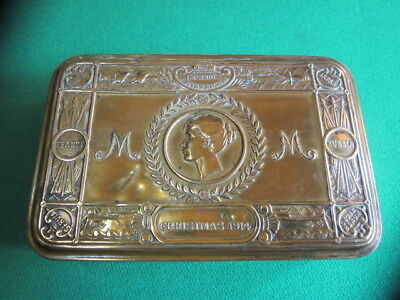 """Antique English """"Queen Mary"""" Brass Gift Box - Christmas 1914"""