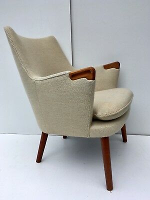 Authentic Hans Wegner Mini Bear AP20 Easy Lounge Chair in Teak and Wool Danish