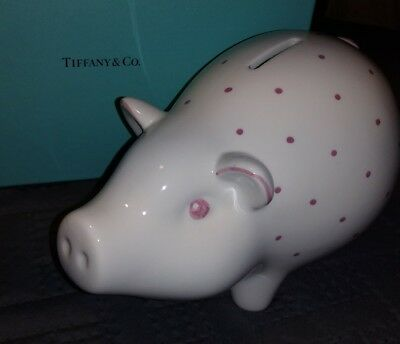 TIFFANY & CO. - Italy - Piggy Bank - White Pink - Proof of Purchase - NEW IN BOX