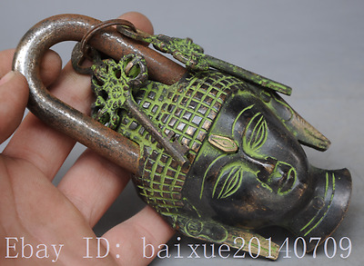 COLLECTION CHINESE COPPER HANDMADE BUDDHA STATUE LOCK AND COPPER KEY c01