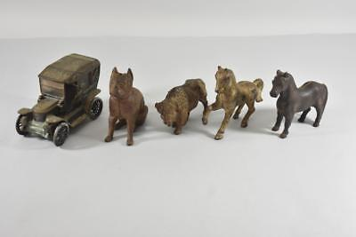 Lot Of 5 Antique Cast Iron Banks Arcade Buffalo, Horses, Dog & Banthrico Car