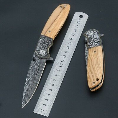 Damascus Pattern Spring Assisted Folding Pocket Knife Camping Hunting Knife