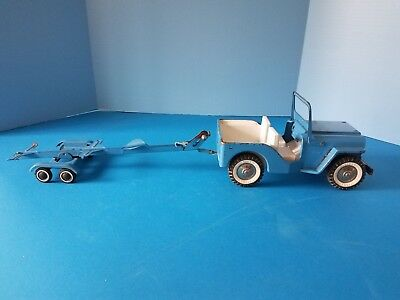 Vintage Tonka 1960s Jeep and Boat Trailer Pressed Steel