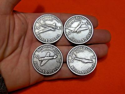 Lot 4 - 10 Reichsmark 1941-44 German Airplane Wwii Collectible Coin - Free Ship