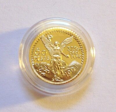 """Awesome Mexican """"50 Pesos"""" Mini Coin Finished in 24 Karat Gold a"""