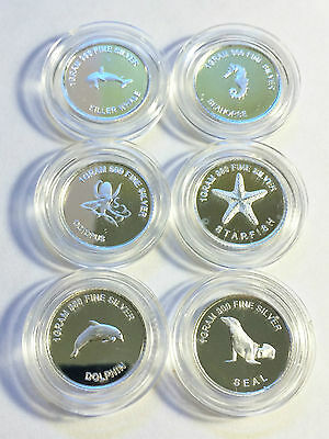 """Set of 6 """"Under The Sea"""" 1 Gram 999.0 Pure Silver Bullion Coins (Total 6 Grams)"""