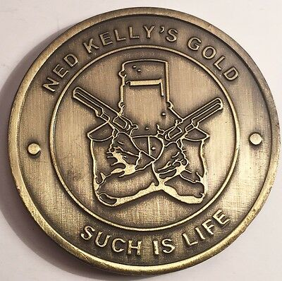 "New Ned Kelly ""Such Is Life"" Coin/token or card weight, Gold Antique Outlaw"