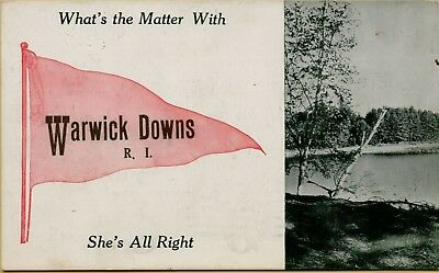 1912 What's the Matter With She's All Right Pennant Warwick Downs RI Postcard D4