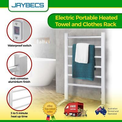 Portable Electric Heated Towel Clothes Warmer Dryer Rail Line Rack Freestanding