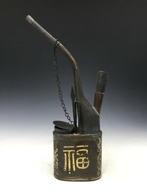 Chinese antique hand-carved pure copper longevity old smoking