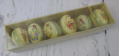 Vintage Hand Painted Real Easter Egg Tree Ornament Basket Flowers Fruit Set of 6