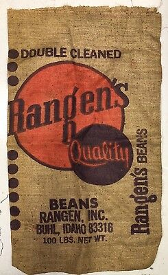 Vintage Rangen's Rustic Bean Burlap Sack Bag Farm Ag Advertising BUHL Idaho USA