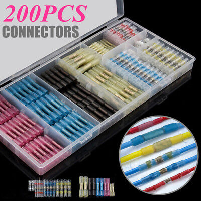 200Pcs Assorted Heat Shrink Butt Solder Seal Wire Connector Terminal Waterproof