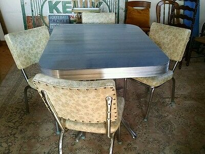Retro 1950's Chrome & Formica Kitchen Table with 4 Vinyl Chairs, Mid -Century