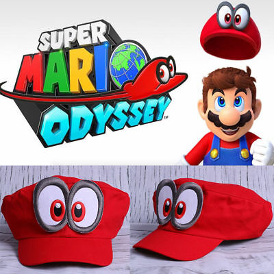 Super Mario Odyssey Hat Cosplay Adult Kids Red Mario Cap Handmade Props AU