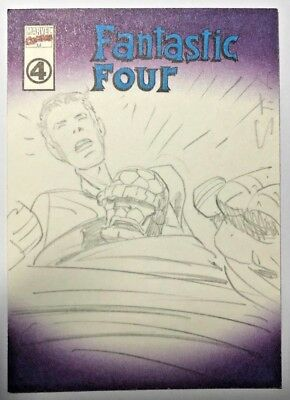 2001 Marvel Legends Custom Cover Fantastic 4 Mr Fantastic Sketch By Aubin
