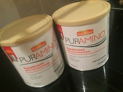 Nutramigen Puramino X2 tins NEW AND SEALED Hypoallergenic Amino Acid Formula
