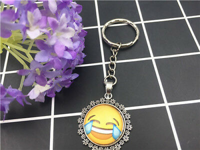 NEW  emoji Expression Tibetan silver  Cabochon Glass Pendant Metal Key Ring E10