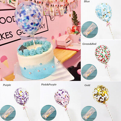 Baby Shower Confetti Latex Balloon Cake Topper Insert Ribbon Party Supplies