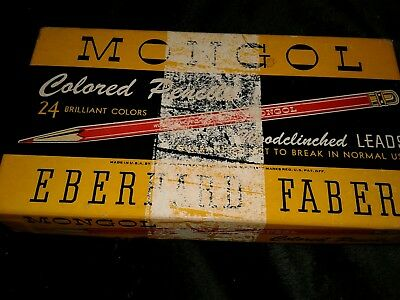 Vintage Mongol Colored Art Pencils 1940's Eberhard Faber woodclinched leads