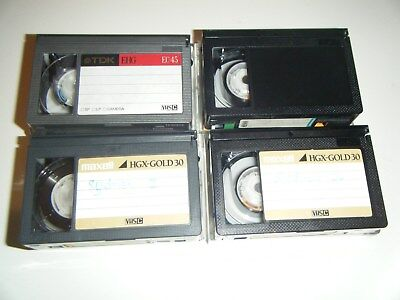 Bulk four used VHSC compact VHS cassette tapes for camcorders