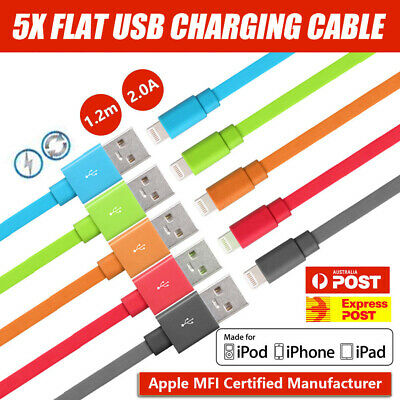 5x USB Lightning Data Charging Sync Cable for Genuine Apple iPhone X 8 7 6 iPad