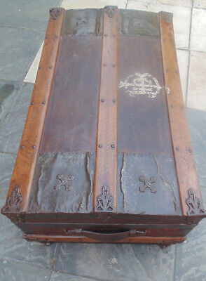Rare 1800's American Chest Original Iron Wheels Leather/Metal stamped patOct 77