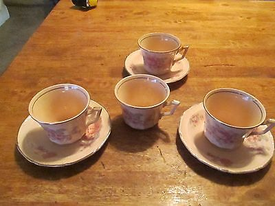Edwin M Knowles Alice Annglow Pink 4 Cups and 3 Saucers