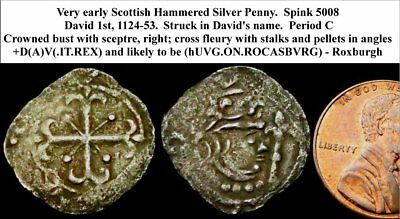 a5: David 1st Hammered Silver Scottish Penny – struck in David's name (WSC-6574)